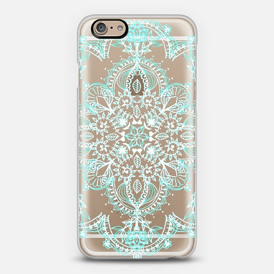 Aqua and white lace mandala transparent from casetify for Le case design