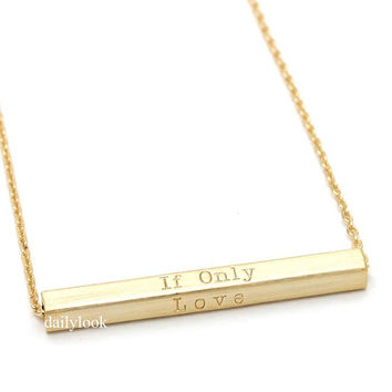 if only love necklace, bar necklace, square necklace, love necklace, rectangle necklace, if only necklace, simple necklace, bridesmaid gift