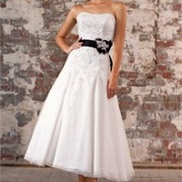 Tea-length strapless beaded wedding dresses 2012 BAML0033