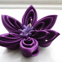 Violet Fascinator: Silk Kanzashi Flower in Purple Silk