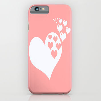 Coral White Hearts of Love iPhone & iPod Case by BeautifulHomes