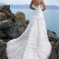 White A Line Organza Beach Wedding Dress WDB013