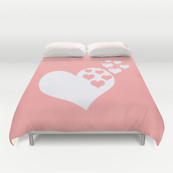 Coral White Hearts of Love Duvet Cover by BeautifulHomes