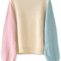 Essential Color Block Mohair Sweater