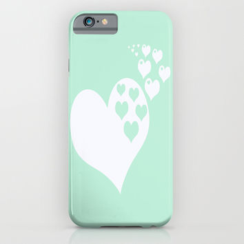 Mint White Hearts of Love iPhone & iPod Case by BeautifulHomes