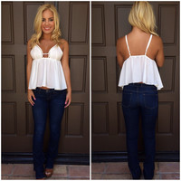 Cut It Out Peplum Top - WHITE