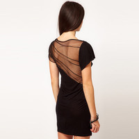 Bqueen Mini Dress With Mesh Panel BY284H