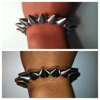 Silver Stretchy Spike Bracelet