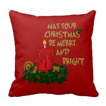 Merry and Bright Christmas Candle Pillow Style 1