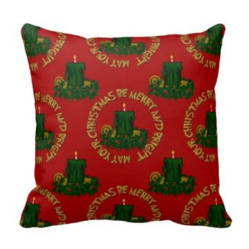 Merry and Bright Christmas Candle Pillow Style 3