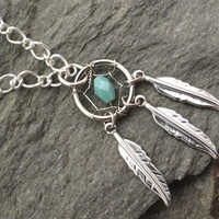 Turquoise Dream Catcher Necklace Silver Feathers