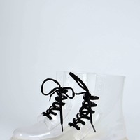 Ella Lace Up Chunky Clear Ankle Welly