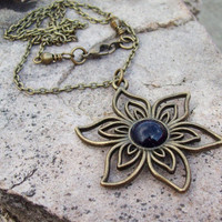 Starry Nights - Star Flower Pendant with Blue Goldstone Cabochon - Chain Necklace - Gypsy Boho