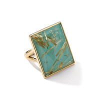 Ippolita 18k Gold Gelato Medium Rutilated Quartz/Turquoise Ring