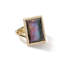 Ippolita 18k Gold Gelato Medium Black Shell Baguette Ring with Diamonds