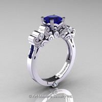 Classic Armenian 14K White Gold 1.0 Ct Princess Blue Sapphire Diamond Solitaire Wedding Ring R608-14KWGDBS