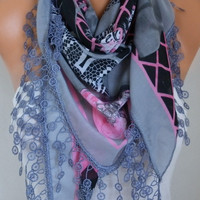 Gray & Pink Scarf Cotton Scarf Oversize Scarf Necklace Cowl Scarf Multicolor Gift Ideas for Her Christmas Women Fashion Accessories