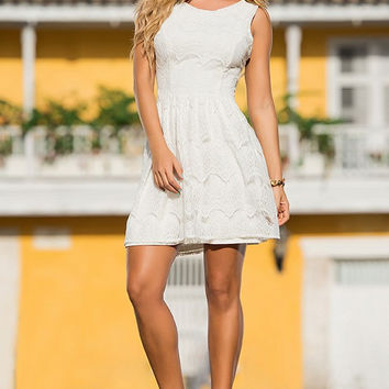 Crocheted Ivory Mini Dress