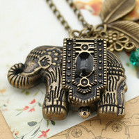 Vintage pocket watch necklace with antique bronze elephant pendant,lovely leaves charm and crystal charm