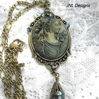 Hand Painted Victorian Lady Cameo OOAK Necklace