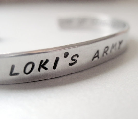 Avengers Loki Inspired 2-Sided Bracelet - Loki's Army - Hand Stamped Aluminum Cuff - customizable
