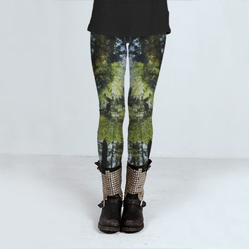 Pine Tree Leggings, Nature Leggings, Yoga Leggings, Womens Yoga Pants, Printed Leggings, Workout Leggings, Printed Yoga Leggings, Clothing