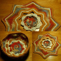 Desert Sands Basket and Mat Set - Tapestry Crochet Decor in Beige to Tan to Rust Browns