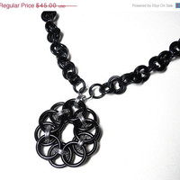 Chainmaille necklace, Black, Gothic, Statement necklace, Helm Flower variation, Medallion