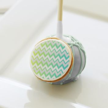 Chevron lime teal aqua ombre Cake pops