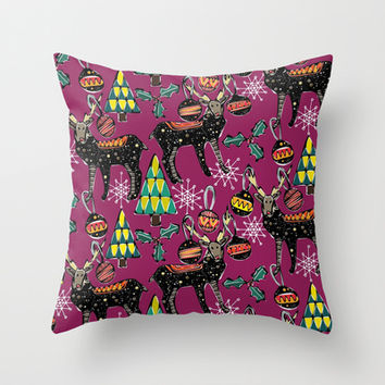 festive deer purple Throw Pillow by Sharon Turner | Society6