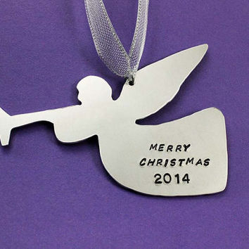 Personalized Christmas Ornament - Handstamped Angel Ornament - Family Ornament - Gift - Baby's First Christmas