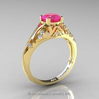 Classic Armenian 18K Yellow Gold 1.0 Ct Pink Sapphire Diamond Engagement Ring R477-18KYGDPS