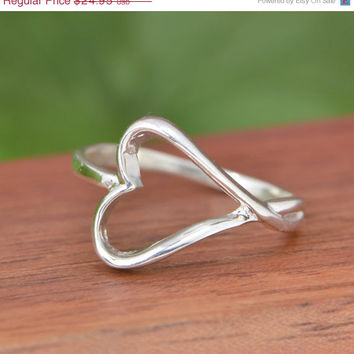 SALE Sterling Silver Heart Ring - Heart Ring - Silver Heart Ring - Silver Ring - Sterling Ring - Swirl Jewelry