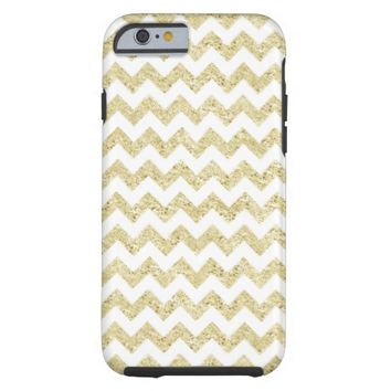 Gold Glitter White Chevron iPhone 6 Case
