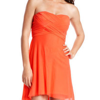 Draped-Mesh Tube Dress