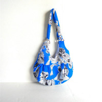 Small Blue Handbag with Short Straps and White Satin Lining