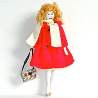 Handmade Cotton Cloth Doll with Red Vintage French Trench Coat and Silk Scarf