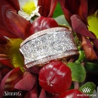 18k White Gold Simon G MR1902 Simon Set Diamond Right Hand Ring with Rose Gold Accents