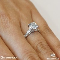 18k White Gold Verragio 4 Prong Pave Diamond Engagement Ring