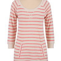 Striped pullover tunic with pocket