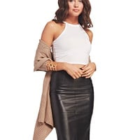 Faux Leather Midi Skirt | Wet Seal