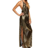 Gold Sultry Metallic Maxi Dress