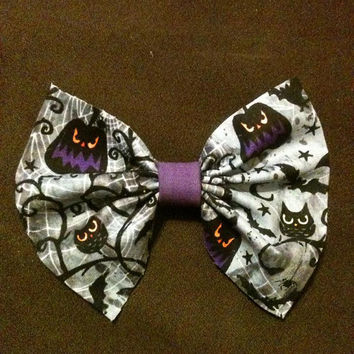 Halloween Hair Bow with Bats/ Hair Bow/Halloween Hair Accessories