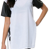 White Athletic Mesh Tee with Side Slits