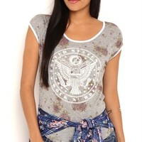 Short Sleeve Floral Tee Shirt with United States of Rock and Roll