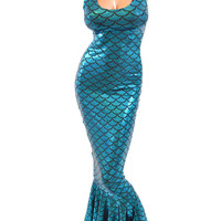 Turquoise Mermaid Scale Full Length Tank Wiggle Dress