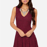LULUS Exclusive Fine and Dainty Sleeveless Burgundy Lace Dress