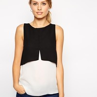 ASOS Sleeveless Mono Color Block Double Layer Top