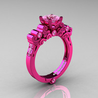 Classic Armenian 14K Fuchsia Pink Gold 1.0 Ct Light Pink Sapphire Solitaire Wedding Ring R608-14KPGLPS