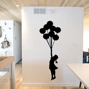 Girl with Balloons Wall Decal - Kids Room - Gift Idea - Nursery - Wall Decor - Home Decor - High Quality Vinyl Graphic